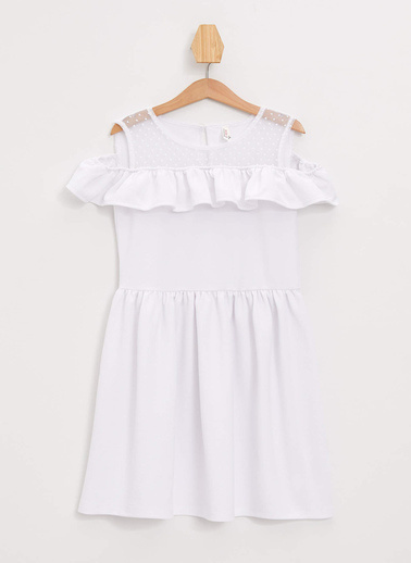 DeFacto Fırfırlı Kolsuz Elbise Beyaz